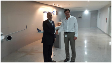 Hon. Asot Michael meets with the Vice President of Commercial Planning and Alliances of Copa Airlines Mr. Joseph Mohan.