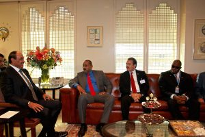 PM Browne in discussions with Sheikh Sabah Al-Khaled Al-Hamad Al-Sabah. Foreign Minister Fernandez and Ambassador Aubrey Webson comprised the Antigua and Barbuda team