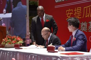 Tourism Minister Asot Michael signs and Agreement with Yida's President Zhang
