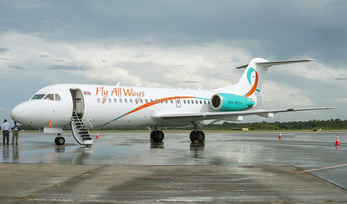 Fly All Ways Fokker F70 at Paramaribo Airport 1